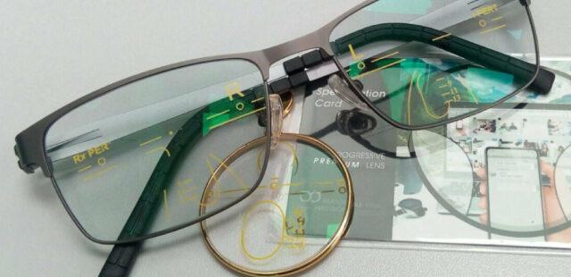 ผลงานประกอบแว่น กรอบ Titanium ipรุ่น He979 C3 เลนส์โปรเกรสซีฟ รุ่น plus Premium prog sunlite 1.56