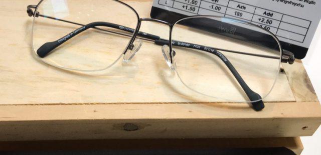 ผลงานประกอบแว่น เลนส์ 1.6 Platinum Premium Prog. MR8 Steel HMC